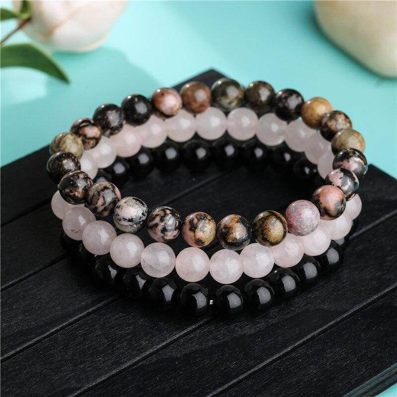 8mm Black Onyx Rhodonite Rose Quartz Stone Bracelet Set