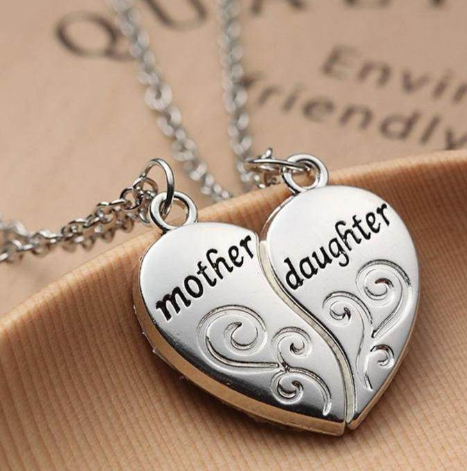Mother & Daughter Heart Necklace - Two Parts-Love By Letterbox
