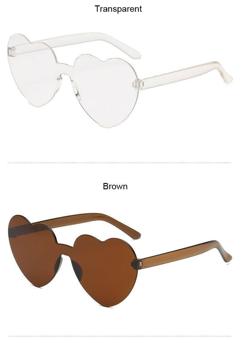 Rimless Love Heart Sunglasses Women-Love By Letterbox