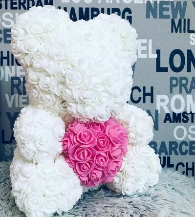 Luxury Rose Bear with Heart 40CM-Love By Letterbox