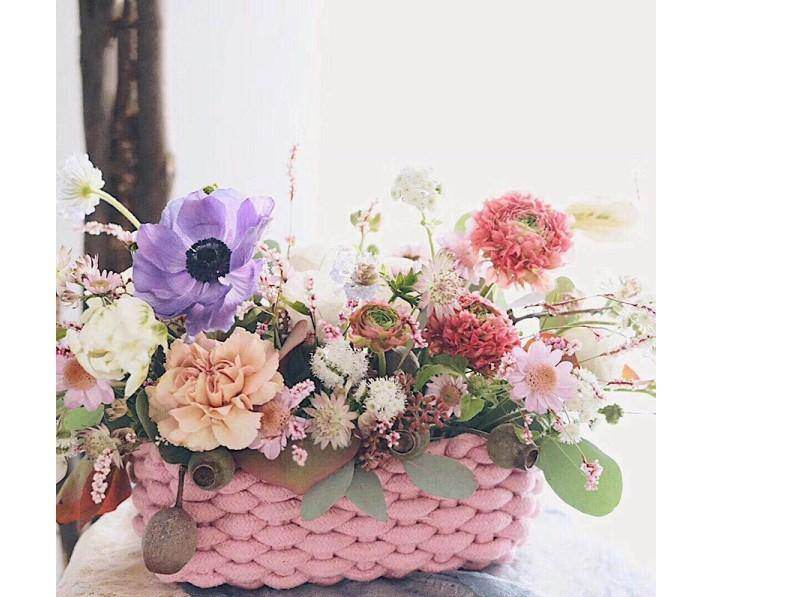 Pink Cotton Knitted Hamper Basket