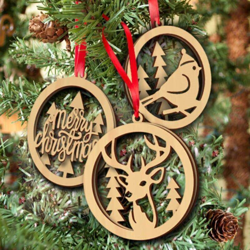 3Pcs Set Christmas Wooden Tree Ornament