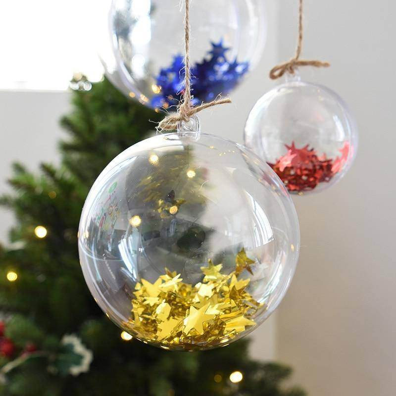 Set of 10 4/5/6cm Clear Christmas Bauble