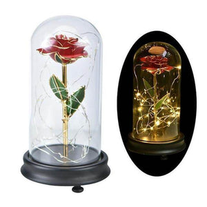 Genuine 24k Gold Rose with Flores in Glass - Love By Letterbox