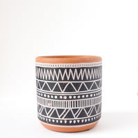 "3.5"" Black Doodles Terra Cotta Planter"