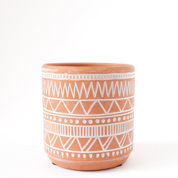 "3.5"" White Doodles Terra Cotta Planter"