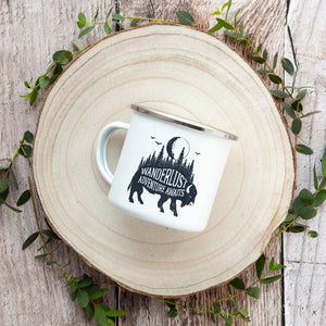 Wanderlust, Adventure Awaits - Enamel Mug - Sovende Bjorn