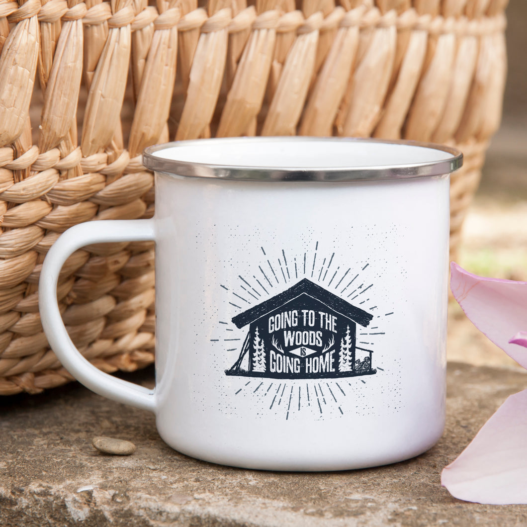 Going to the woods is going home - Enamel Mug - Sovende Bjorn