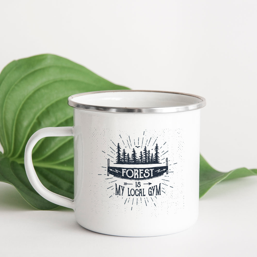 The Forest Is My Gym - Enamel Mug - Sovende Bjorn