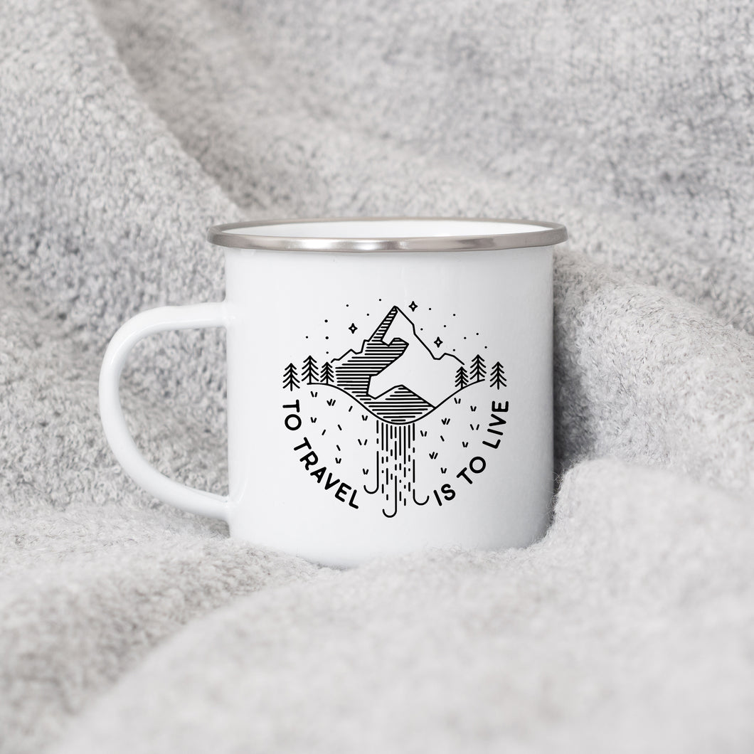 To travel is to live - Enamel Mug - Sovende Bjorn