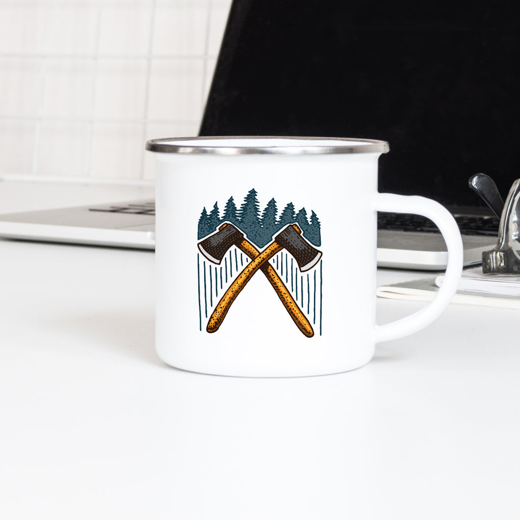 Crossed Axes - Enamel Mug