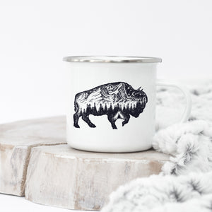 Buffalo of the Mountains - Enamel Mug - Sovende Bjorn
