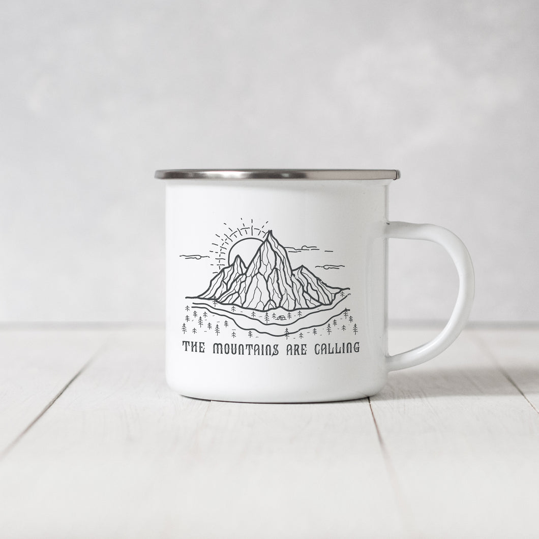 The Mountains are Calling - Enamel Mug - Sovende Bjorn