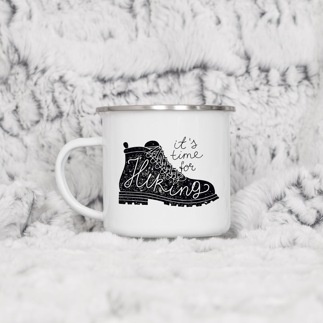 It's time for hiking - Enamel Mug - Sovende Bjorn