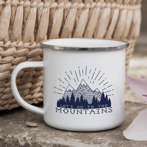 Lets go to the mountains - Enamel Mug - Sovende Bjorn
