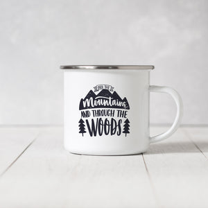 Over the mountains and through the woods - Enamel Mug - Sovende Bjorn