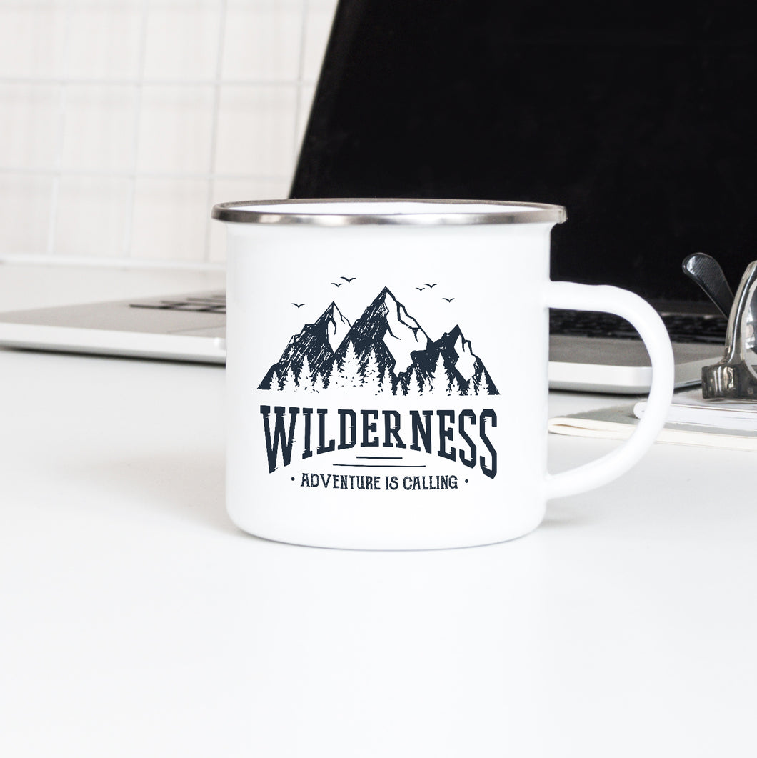Wilderness, Adventure is Calling - Enamel Mug - Sovende Bjorn