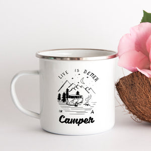 Life is better in a camper - Enamel Mug - Sovende Bjorn