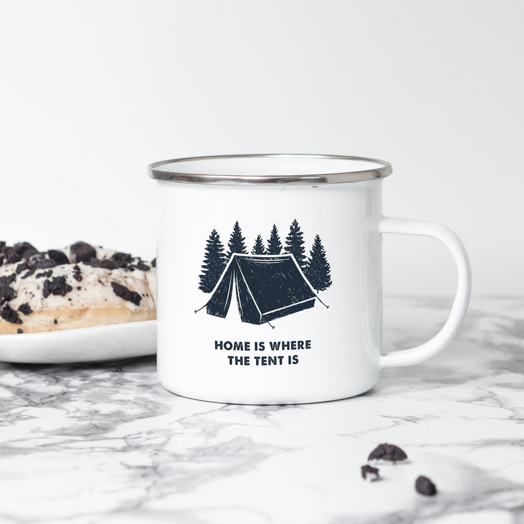 Home is where the tent is - Enamel Mug - Sovende Bjorn