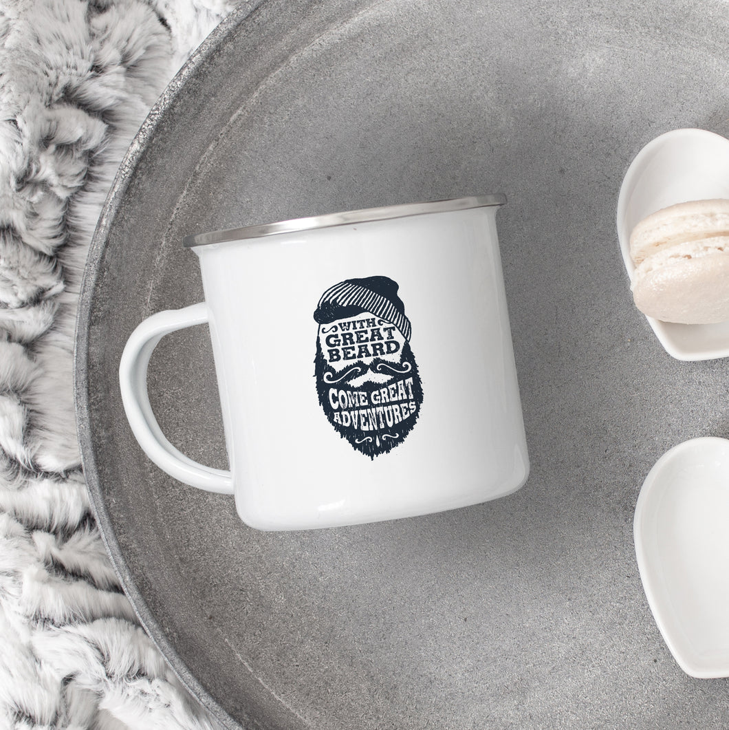 With Great Beard Come Great Adventures - Enamel Mug