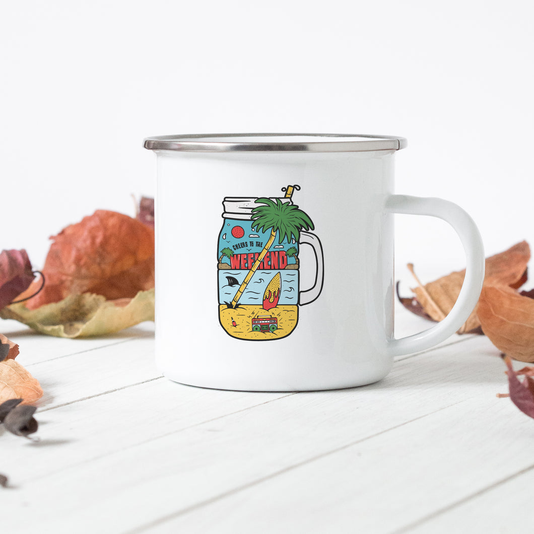 Cheers to the Weekend - Enamel Mug - Sovende Bjorn