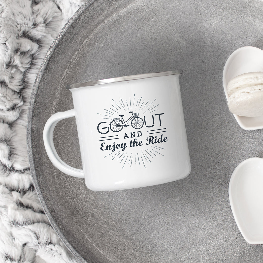 Go Out & Enjoy the Ride - Enamel Mug - Sovende Bjorn