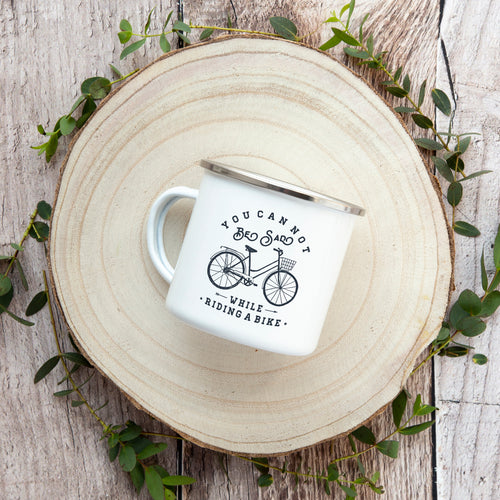 You cannot be sad while riding a bike - Enamel Mug - Sovende Bjorn