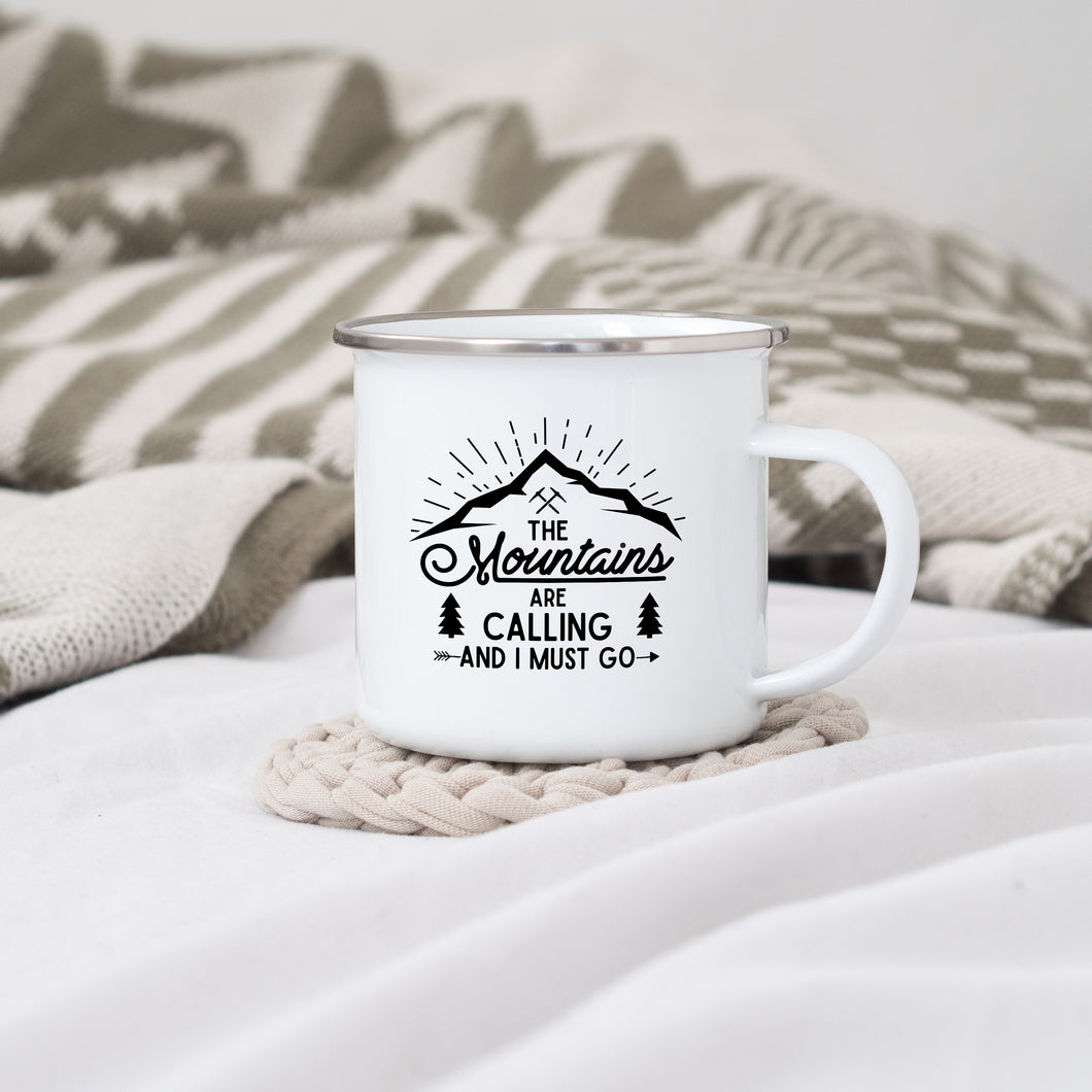 The Mountains are Calling and I must go - Enamel Mug - Sovende Bjorn