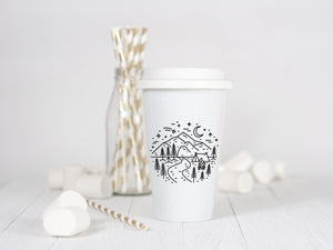 Mountain Campsite - Ceramic Travel Mug - Sovende Bjorn