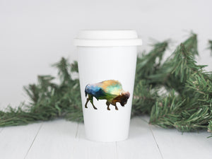 Mountain Bison - Ceramic Travel Mug - Sovende Bjorn