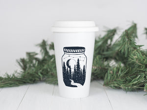 North Star Memory Jar - Ceramic Travel Mug - Sovende Bjorn