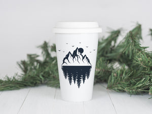 Mountain Reflections - Ceramic Travel Mug - Sovende Bjorn