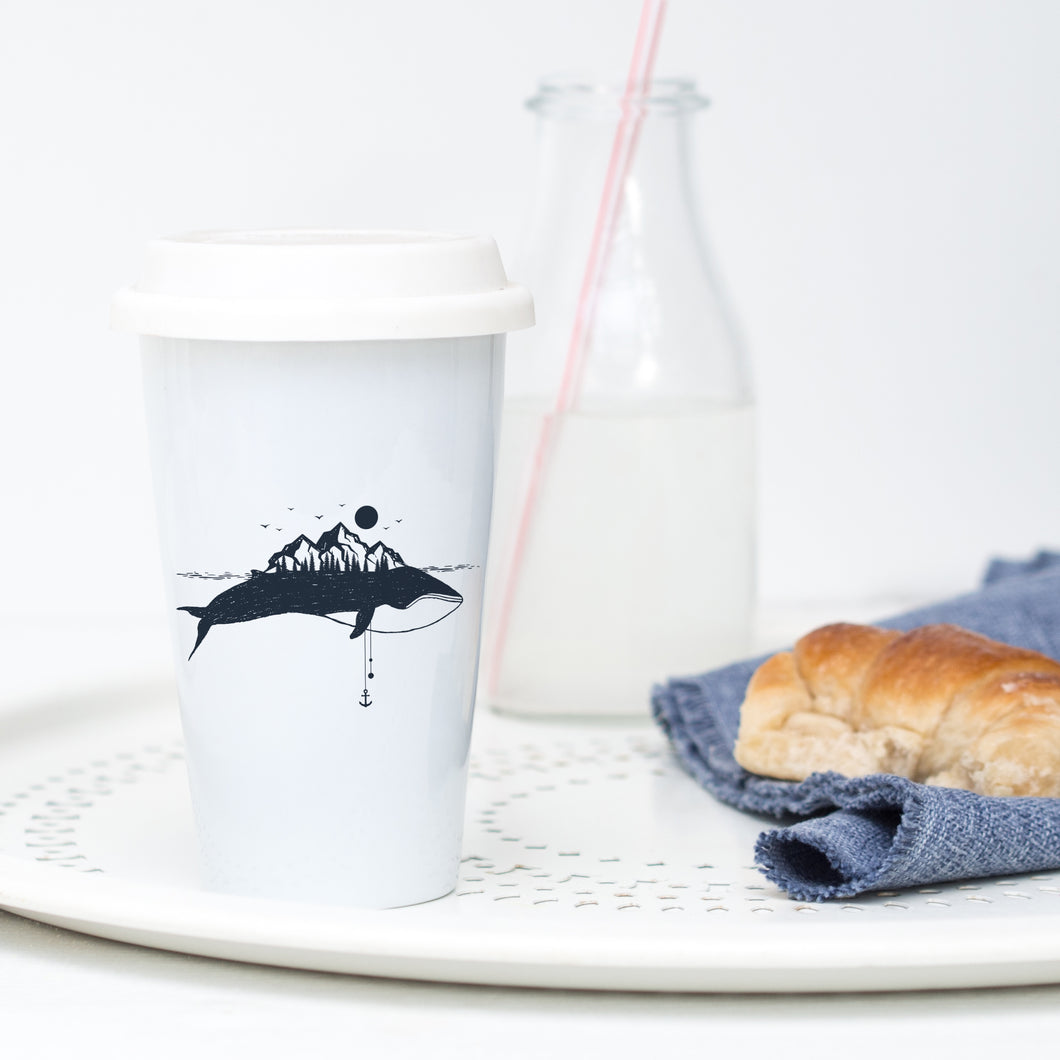 Whale Island - Ceramic Travel Mug - Sovende Bjorn