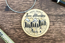 Load image into Gallery viewer, Love Mountains & Hate People Wooden Keyring
