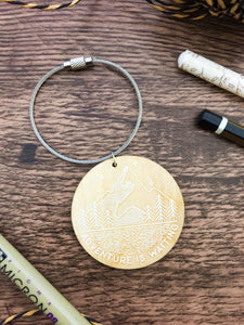 Adventure is Waiting Wooden Keyring - Sovende Bjorn