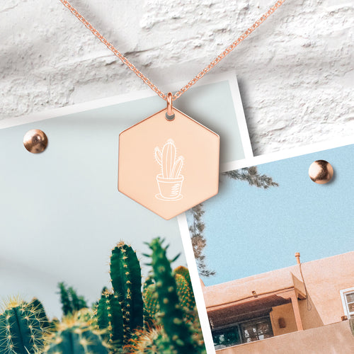Cactus Hexagon Pendant Necklace - Sovende Bjorn