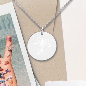 Flower Round Pendant Necklace - Sovende Bjorn