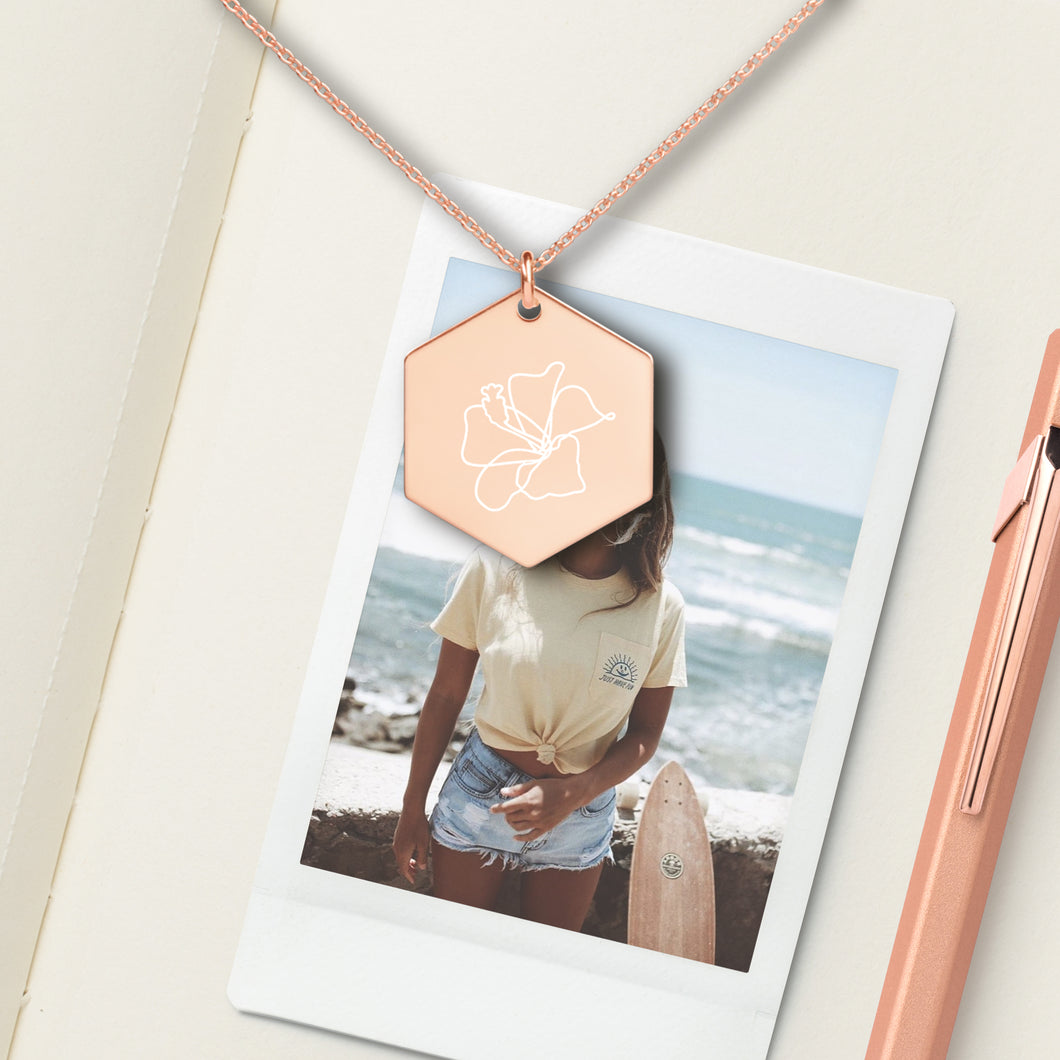 Flower Hexagon Pendant Necklace - Sovende Bjorn
