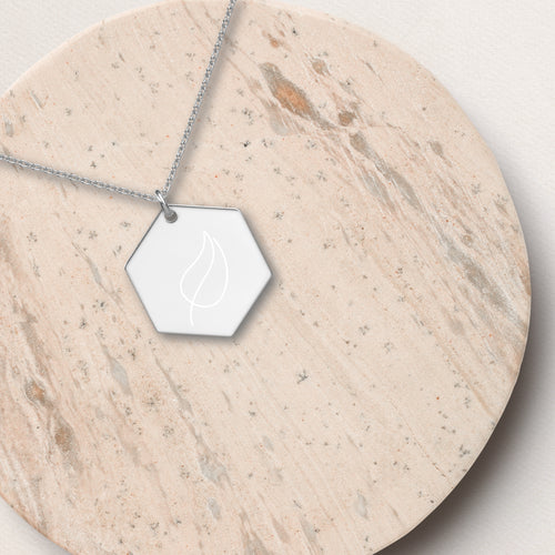 Leaf Hexagon Pendant Necklace - Sovende Bjorn