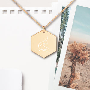 Whale Shark Hexagon Pendant Necklace - Sovende Bjorn
