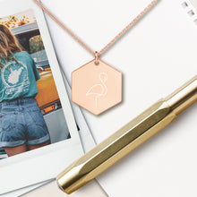 Load image into Gallery viewer, Flamingo Hexagon Pendant Necklace - Sovende Bjorn