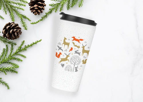 Christmas in the Forest Travel Tumbler