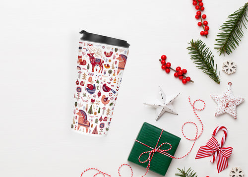 All The Pretty Horses Christmas Folk Art Travel Tumbler