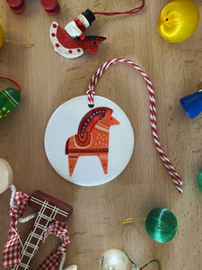 Dala Horse Christmas, Ceramic Ornament