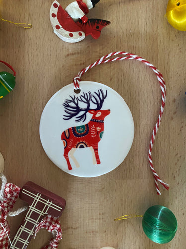 Christmas Stag, Ceramic Ornament