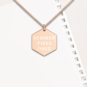 Summer Vibes Only Hexagon Pendant Necklace - Sovende Bjorn