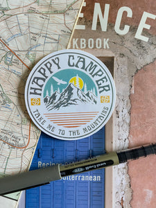 Happy Camper, take me to the mountains Sticker - Sovende Bjorn