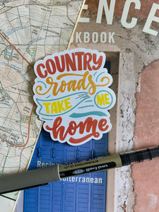 Country Roads, Take Me Home Sticker - Sovende Bjorn