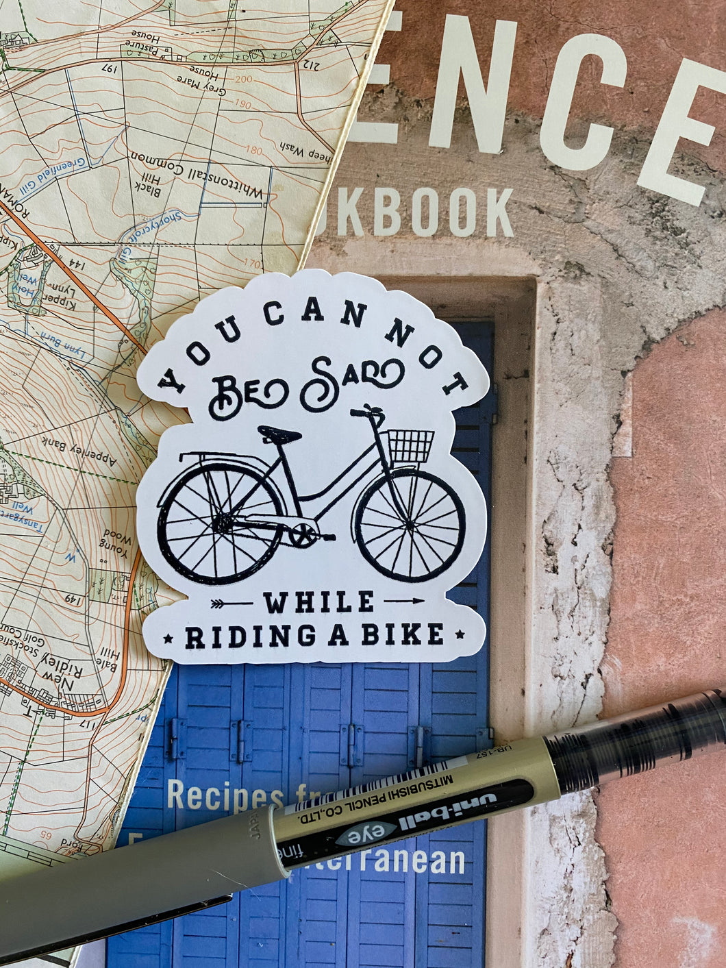 You Cannot Be Sad While Riding A Bike, Cycling Sticker - Sovende Bjorn