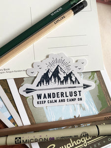 Wanderlust Keep Calm & Camp On Sticker